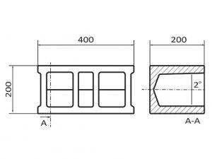 Бетоново блокче V1-чертеж. Бетонни изделия Монтана